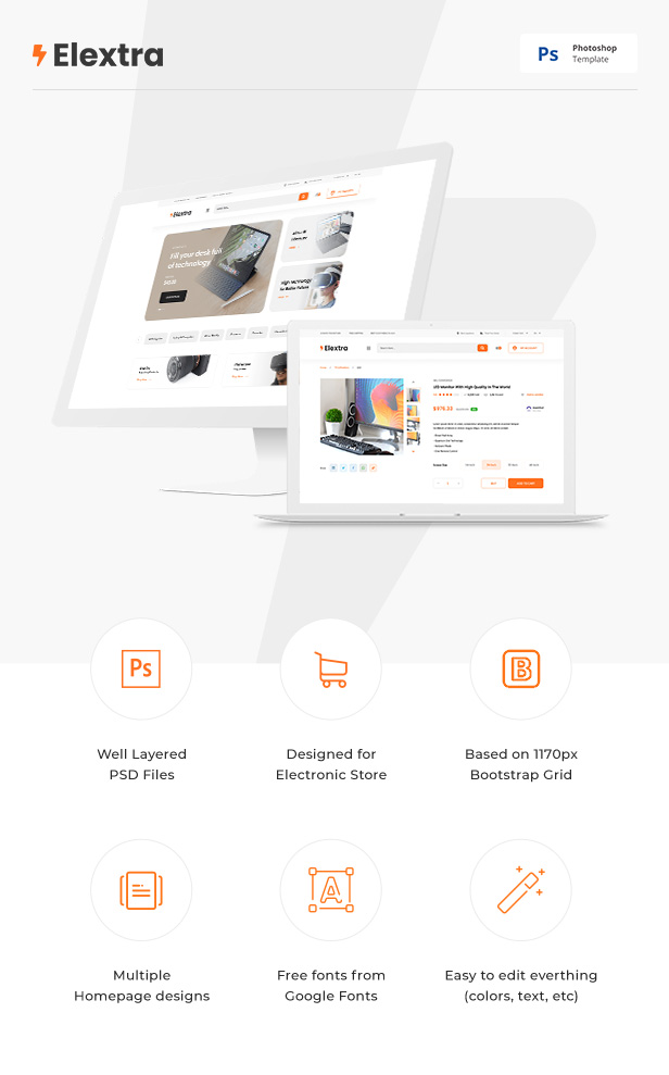 Elextra - Electronic eCommerce PSD Template - 1